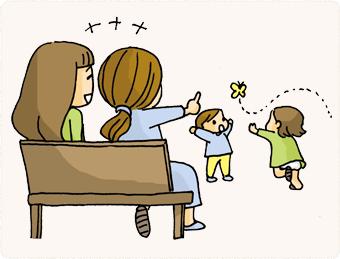子どもの習い事で知り合い、今でも連絡を取り合ったり遊んだりする。公園遊びもママ友と一緒だとお話できるし、子どもと二人っきりでいるよりも煮詰まらない。