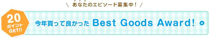 20ポイントGET!!あなたのエピソード募集中!今年買って良かった Best Goods Award!